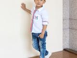 2015秋季新品童装 潮韩版儿童衬衣男童长袖字母纯色衬衫批发