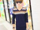 热销2014秋冬季男装爆款男式毛衣,潮流韩版提花v字领相色羊毛衫