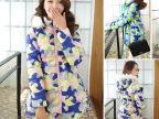 韩版女连帽羽绒服冬装新款迷彩印花外套时尚修身中长款