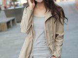 2014秋季新款清纯学院风女装大衣大码连帽系带风衣外套韩国风衣潮