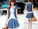 2014夏装新款韩版修身百搭短袖牛仔三件套连衣裙百褶套裙1321
