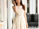 2014春季新款韩版修身无袖背心百搭白色蕾丝连衣裙