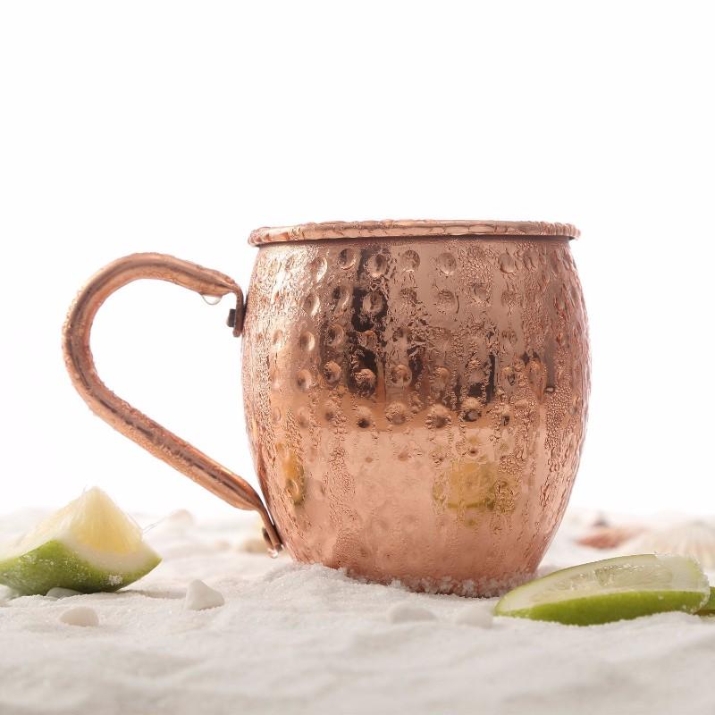 批发定制不锈钢马克杯 莫斯科杯 纯铜锤纹鼓形杯 电镀鸡尾酒杯