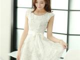 新款韩版女装修身欧根纱甜美公主裙夏季蓬蓬裙雪纺l连衣裙