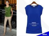 批发外贸新款欧美圆领简单款纯色莫代尔棉短袖女式t恤