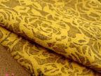 新款秋冬布料 姜黄色玫瑰暗花羊毛呢料 大衣外套花朵印花裙子面料