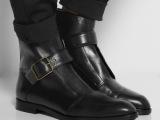 欧美新款女鞋素人同款真皮牛皮单靴短靴平底舒适鞋子单鞋