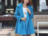 2014秋冬女装新款韩版修身风衣中长款双排扣大码羊毛外套女 批发