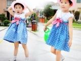 童装批发 韩版小童装 全棉牛仔拼接连衣裙 女童长裙