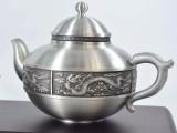 纯锡瑞气东升茶具套装 马来西亚纯手工锡器 茶杯茶壶套装
