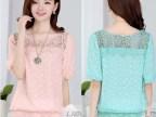 2015夏装韩版中袖打底衫 五分袖女雪纺衫宽松上衣女大码蕾丝衫