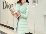 冬季新款女式大毛领纯色羽绒服女中长款 修身加厚欧洲站羽绒服