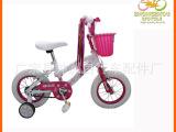 12寸粉色公主车带塑料编织篮 儿童自行车 儿童自行车厂