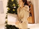 2013秋冬新款女装韩版修身羊毛毛领毛呢外套收腰羊绒斗篷呢子大衣