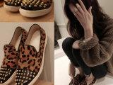 韩国代购个性马毛女鞋子平底豹纹休闲鞋铆钉平跟女单鞋