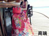 真丝裙高端定制旅游连衣裙修身仙女沙滩裙刘美人长裙明星同款