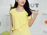 2014新款夏季韩版宽松荷叶袖三层雪纺衫百搭短袖大码女上衣潮