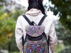 新款云南民族风包刺绣包帆布带盖抽带绣花女款双肩包背包书包批发