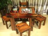 船木茶桌小型中式仿古做旧住宅实木家具阳台功夫茶台桌椅组合促销