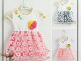 15夏款童装 太阳花儿童短袖连衣裙 针织衫拼接女童T恤
