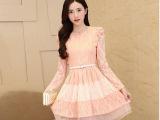 春季2015女装新款花朵蕾丝拼接长袖连衣裙 一件代发 代理加盟