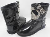 羊毛雪地靴皮毛一体水钻猫头平底保暖熊水钻女靴冬季厚底中筒靴