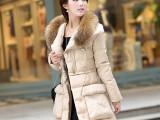 厂家2014冬装季新款韩版女中长款大码修身大毛领羽绒服女款 批发
