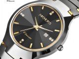 正品摩尔时 圆形钨钢陶瓷情侣手表对表防水石英表情侣表手表