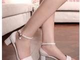 批发2014新款真皮中跟凉鞋百搭水钻品牌大码女鞋子厂家直销