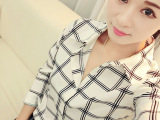 2015韩版清新黑白大方格子长袖衬衫简洁百搭T恤上衣女
