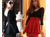 2014新款春装女装 瑞丽韩版高腰拼接蕾丝长袖性感深V连衣裙