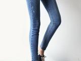 韩国代购秋款好质量高弹力紧身女牛仔长裤小脚铅笔裤