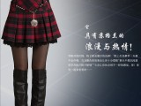 2015春装新款韩版格子拼接半身裙大码短裙春秋裙子秋冬百褶裙