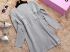 2015秋装新款女式针织衫 韩版纯色下摆不规则套头针织衫