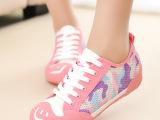 2014夏季新款透气网布鞋开口笑帆布低女鞋韩版潮鞋
