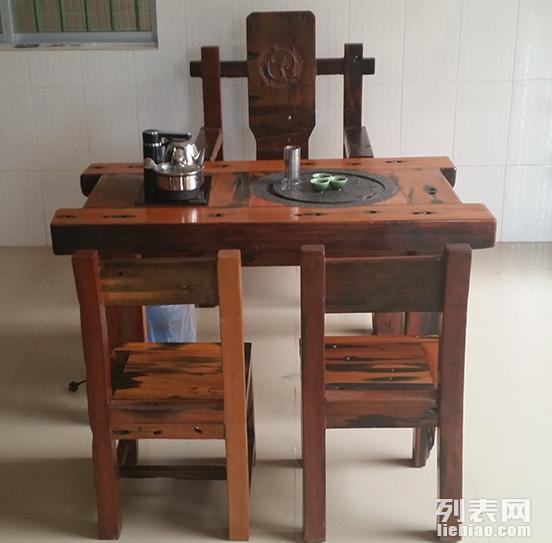 临夏市老船木茶桌椅子仿古茶台实木沙发茶几餐桌办公桌家具博古架