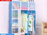 聚怀环保树脂简易衣柜双人儿童衣橱金属钢架衣服整理柜家居用品