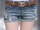 3002夏装新款破洞牛仔短裤女 夏 牛仔裤大码显瘦裤子潮修身