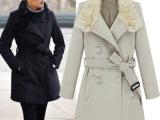 2014欧美春季热销明星款兔毛领呢外套大衣长款系腰带呢大衣301