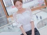 韩国代购韩版蕾丝系带中袖纯色中长款拼接衬衫雪纺衫上衣女2365