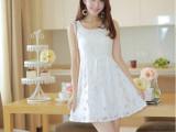 火爆热销 2014夏装新款女装 甜美白色无袖背心蕾丝连衣裙子A4