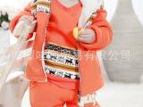 冬季宝宝卫衣三件套装冬装加厚连帽马夹背心儿童套装DTZ015