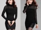 2014秋冬季新款大码女装韩版修身高领长袖打底衫女士T恤女款春秋