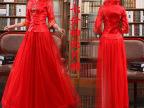 新娘旗袍2015新款夏红色敬酒服中式结婚礼服修身改良长袖长款嫁衣