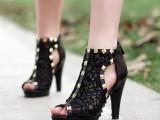 厂家直销一件代发欧美新款蕾丝镂空防水台超高跟鱼嘴鞋牛皮女凉鞋
