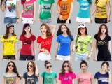夏装新款印花短袖圆领T恤女韩版宽松打底衫学生上衣批发