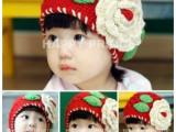 新爆款韩版红色大花朵纯手工毛线帽 婴儿童棉线帽 女宝宝帽子