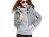 批发 2013冬装韩版修身短款背心中长款卫衣两件套时尚羽绒棉衣
