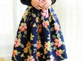 实拍秋冬中裙半身裙 女装高腰裙子半身裙花朵A字中长裙伞裙