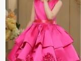 新款小女孩婚纱女花童蓬蓬裙演出服装儿童主持人礼服 公主裙秋冬